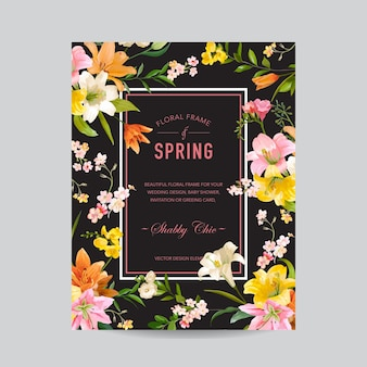 Quadro floral vintage colorido - flores de lírio em aquarela - para convite, casamento, cartão de chá de bebê