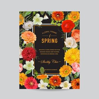 Quadro floral vintage colorido - flores em aquarela de outono - para convite, casamento, cartão de chá de bebê