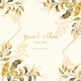 Quadro floral vintage com folhas verdes e douradas