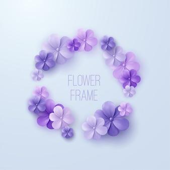 Quadro floral vintage de guirlanda de flores roxas. elemento de decoração para convite de casamento.