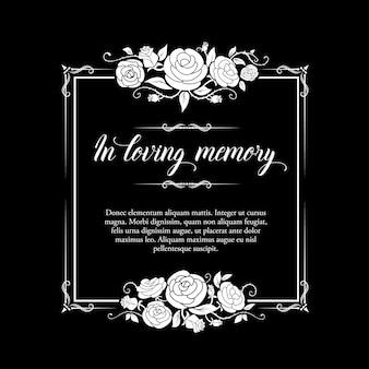 Quadro fúnebre com ornamento de rosas e tipografia de condolências.