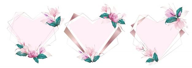 Quadro geométrico de coração de ouro rosa decorado com flor rosa em estilo aquarela