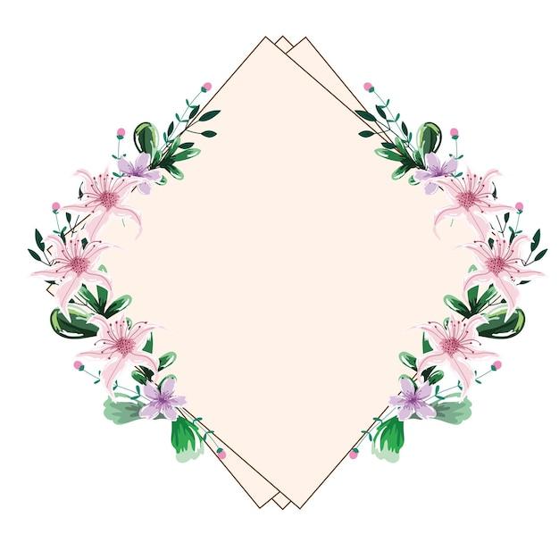Quadro geométrico de flores em aquarela