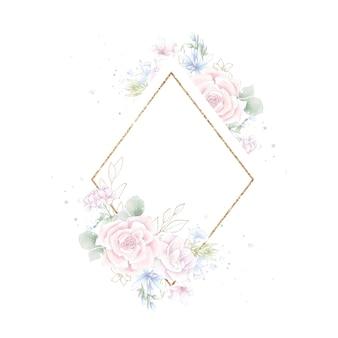 Quadro geométrico dourado com rosas. ilustração em aquarela.