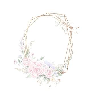 Quadro geométrico dourado com rosas