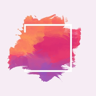 Quadro geométrico na mancha aquarela colorida
