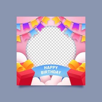 Quadro gradiente de aniversário do facebook