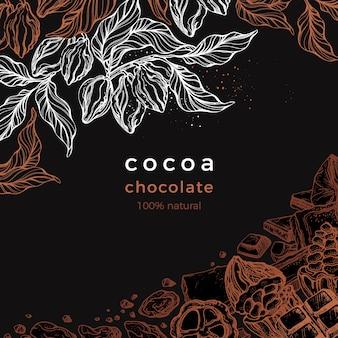 Quadro gráfico de chocolate. árvore de cacau, galho, feijão, fruta. ilustração desenhada à mão