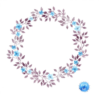 Quadro guirlanda floral com flores e folhas