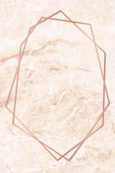 Quadro hexagonal em fundo de mármore laranja
