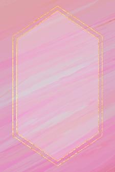 Quadro hexagonal em fundo rosa