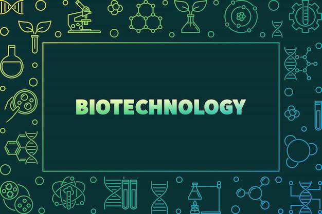 Quadro horizontal colorido de vetor de biotecnologia ou ilustração em estilo de estrutura de tópicos em fundo escuro