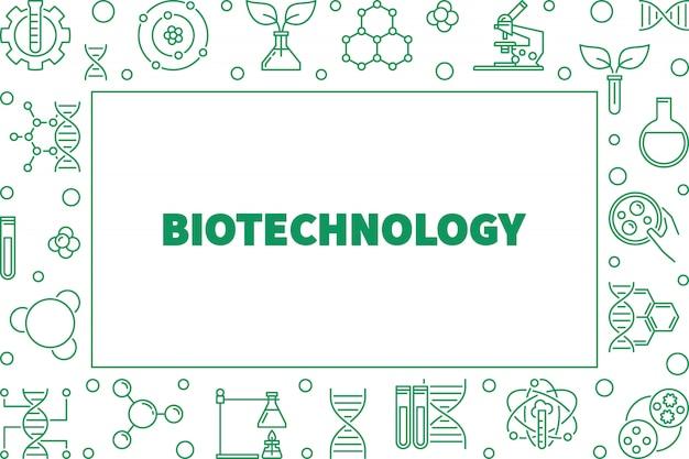 Quadro horizontal de contorno de vetor de biotecnologia