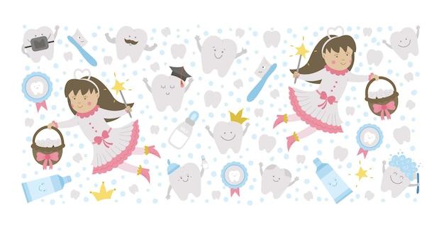 Quadro horizontal de vetor com fada dos dentes fofa modelo de cartão com princesa de fantasia kawaii engraçado sorriso escova de dentes bebê molar pasta de dente dentes foto engraçada de cuidados dentários para crianças
