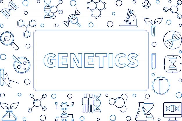 Quadro horizontal do esboço do conceito da genética.