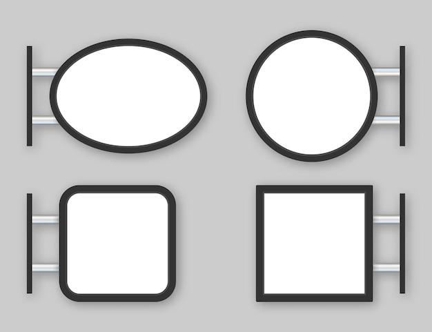Quadro indicador de caixa de luz de sinalização retangular. café de metal preto, simulação de restaurante ao ar livre. ilustração em vetor das ações. ilustração vetorial