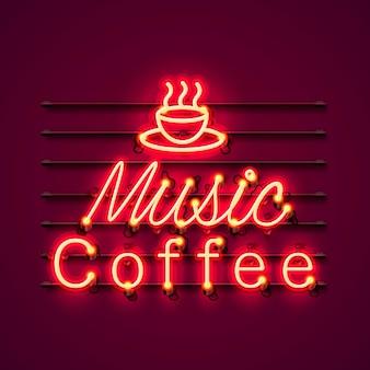 Quadro indicador de ícone de texto de café de música de néon sobre o fundo vermelho.