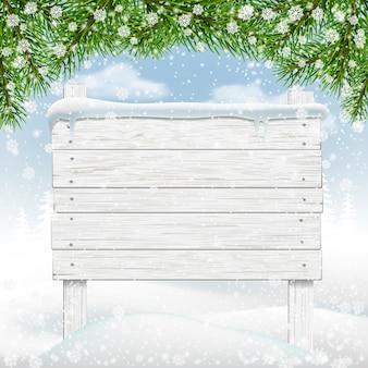 Quadro indicador de madeira de inverno branco na neve.