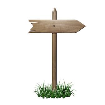 Quadro indicador de madeira em uma grama. eps10 Vetor Premium