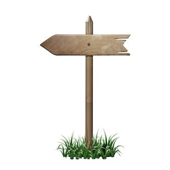 Quadro indicador de madeira em uma grama.