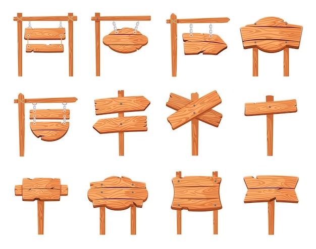 Quadro indicador de madeira sinal de madeira rústico poste ponteiros de seta de direção de rua conjunto de vetores de sinal vazio de desenho animado