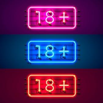 Quadro indicador de néon 18 plus conjunto de cores. ilustração vetorial