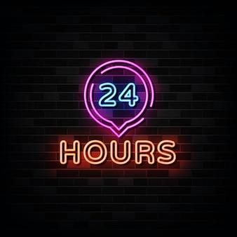 Quadro indicador de néon 24 horas. sinal de néon aberto o dia todo.