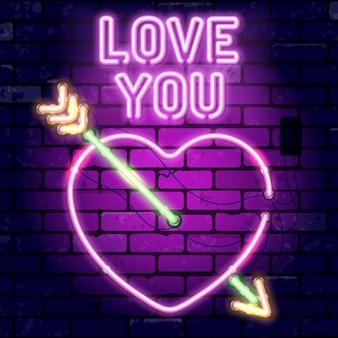 Quadro indicador de néon do dia dos namorados com coração, seta e te amo. sinal de parede de tijolo de quadro indicador de noite brilhante.