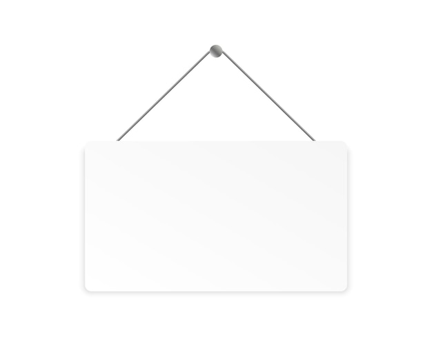 Quadro indicador em branco realista banner branco pendurado com lugar para texto