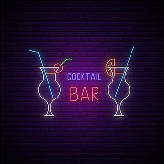 Quadro indicador neon bar de coquetéis