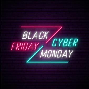 Quadro indicador neon black friday e cyber monday