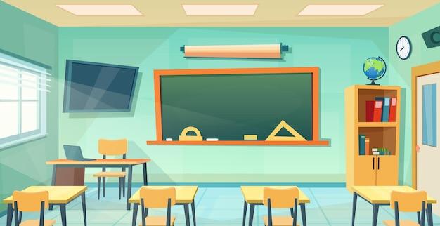 Quadro interno vazio da sala de aula da escola