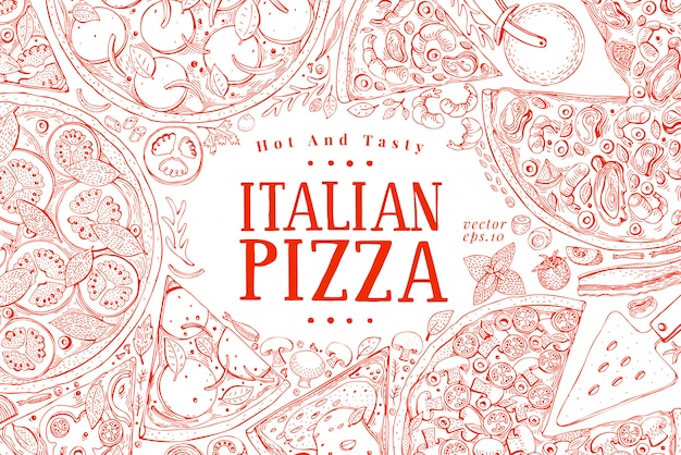 Quadro italiano da opinião superior da pizza do vetor.