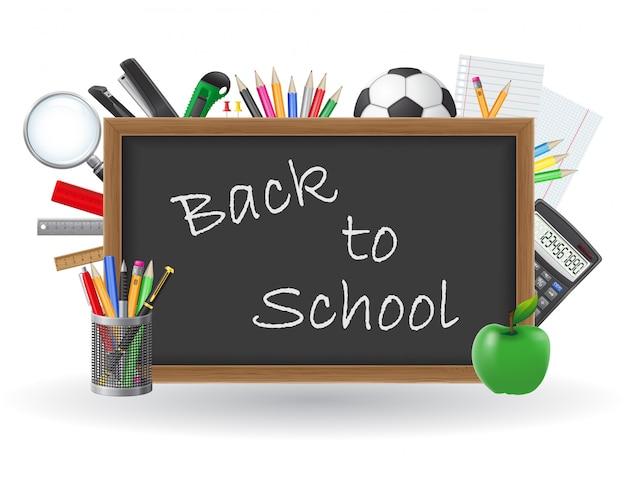 Quadro-negro com as costas para ilustração de vetor de elementos de escola e texto de escola