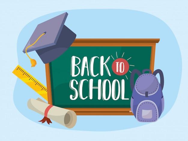 Quadro-negro com chapéu de formatura e mochila com diploma