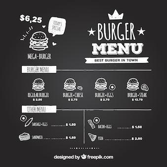 Quadro-negro com hambúrgueres saborosos