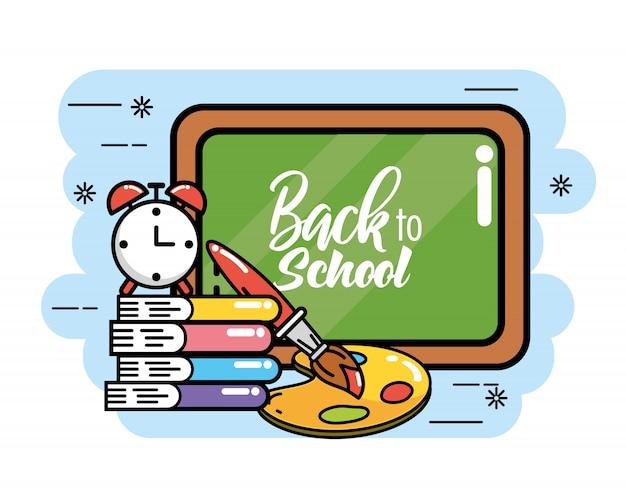 Quadro-negro com livros e alarme de relógio para a escola de volta