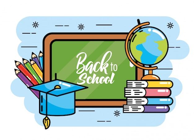 Quadro-negro com mapa global e livros para a escola de volta
