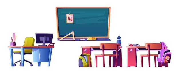 Quadro-negro com mesa do professor de material abc com computador pessoal e carteiras infantis com mochilas