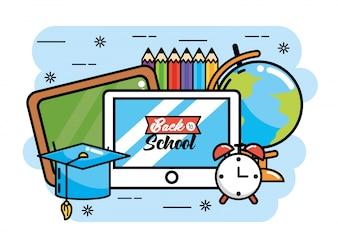Quadro-negro com mesa e mapa global para a escola