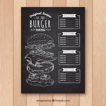 Quadro-negro com modelo de menu de hambúrguer