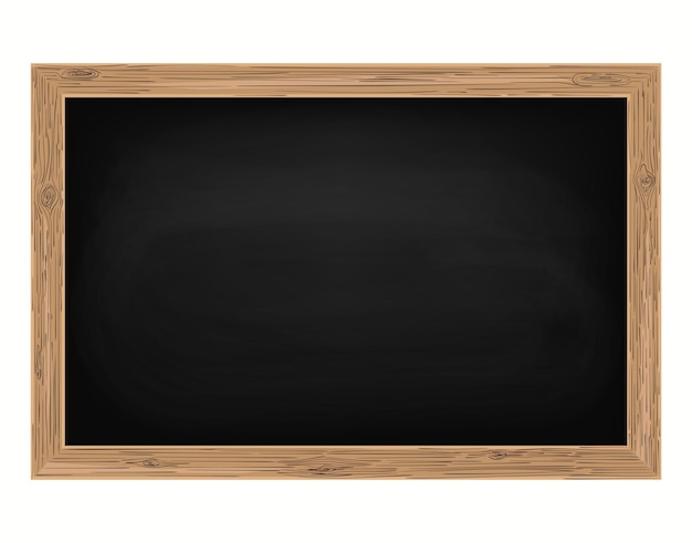 Quadro-negro com moldura de madeira, quadro-negro vazio da escola para sala de aula, fundo apagado, quadro-negro sujo, vetor