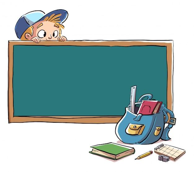 Quadro-negro com uma criança escondida e material escolar