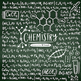 Quadro-negro de química desenhada de mão