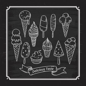 Quadro-negro de sorvete delicioso desenhado à mão