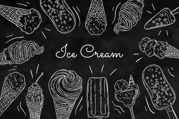 Quadro-negro de sorvete saboroso desenhado à mão