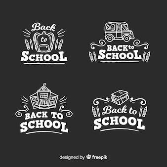 Quadro-negro de volta à coleção de crachá de escola