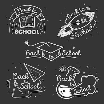 Quadro-negro de volta à coleção de crachás de escola