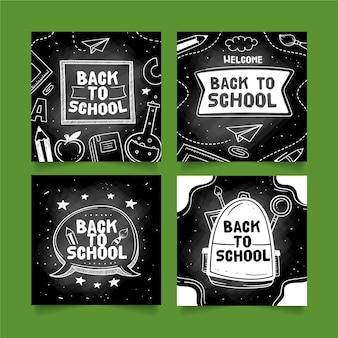 Quadro-negro de volta à escola instagram post coleção