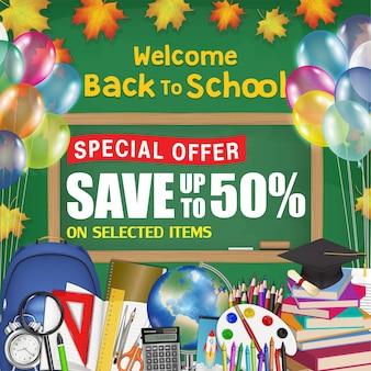 Quadro-negro de volta ao cartaz de promoção de venda de escola